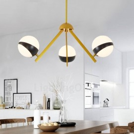3 Light Modern / Contemporary Nordic style Ceiling Lights Chandelier with Black and White Glass Shade for Bathroom, Living Room,
