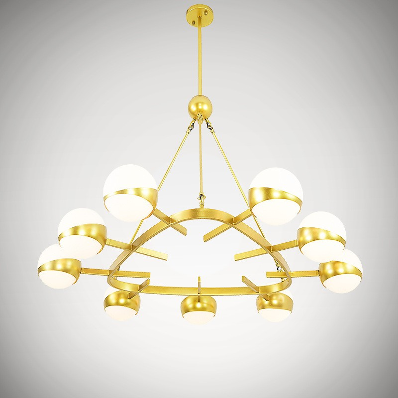 9 Light Modern Contemporary Nordic Style Ceiling Lights Copper Plating Chandelier With Gold