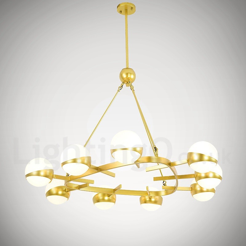 Living Room Chandelier Nordic Personality Creative Brass Glass Shades 4 Lights Gold Designer Ceiling Lights