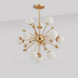 11 Light Modern / Contemporary Ceiling Lights Copper Plating Chandelier with White Ball Glass Shade for Bathroom, Living Room, S