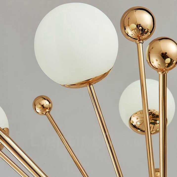 12 Light Modern Contemporary Ceiling Lights Copper Plating Chandelier with White Ball Glass Shade for Bathroom, Living Room, Study, Bedroom,