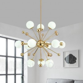 12 Light Modern / Contemporary Ceiling Lights Copper Plating Chandelier with White Ball Glass Shade for Bathroom, Living Room, S