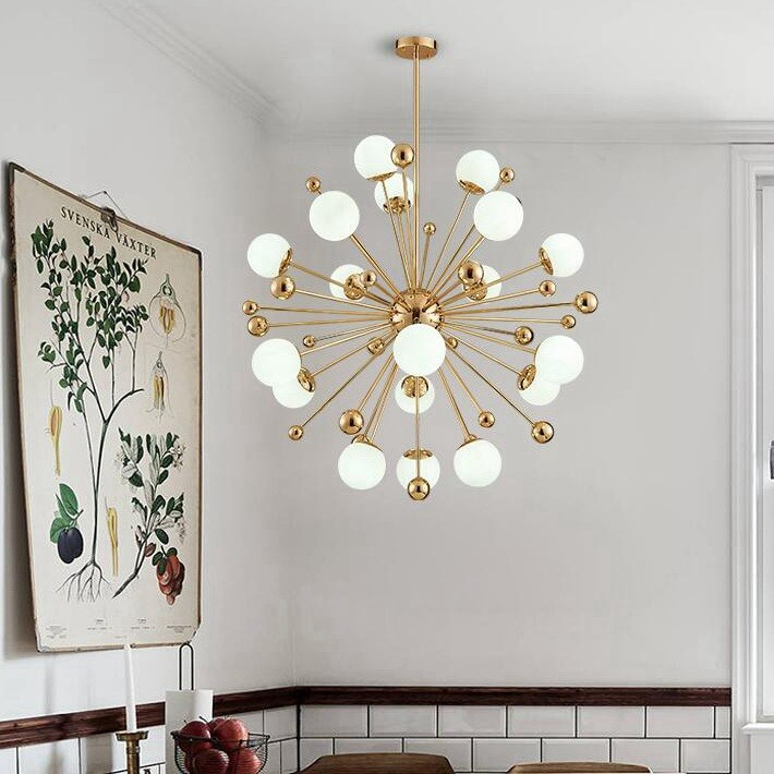 18 light modern contemporary ceiling lights copper plating 18 light modern contemporary ceiling lights copper plating chandelier with white ball glass shade for aloadofball Gallery