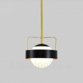 1 Light Modern / Contemporary Ceiling Lights Copper Plating Pendant Light with White Ball Glass Shade for Bathroom, Living Room,