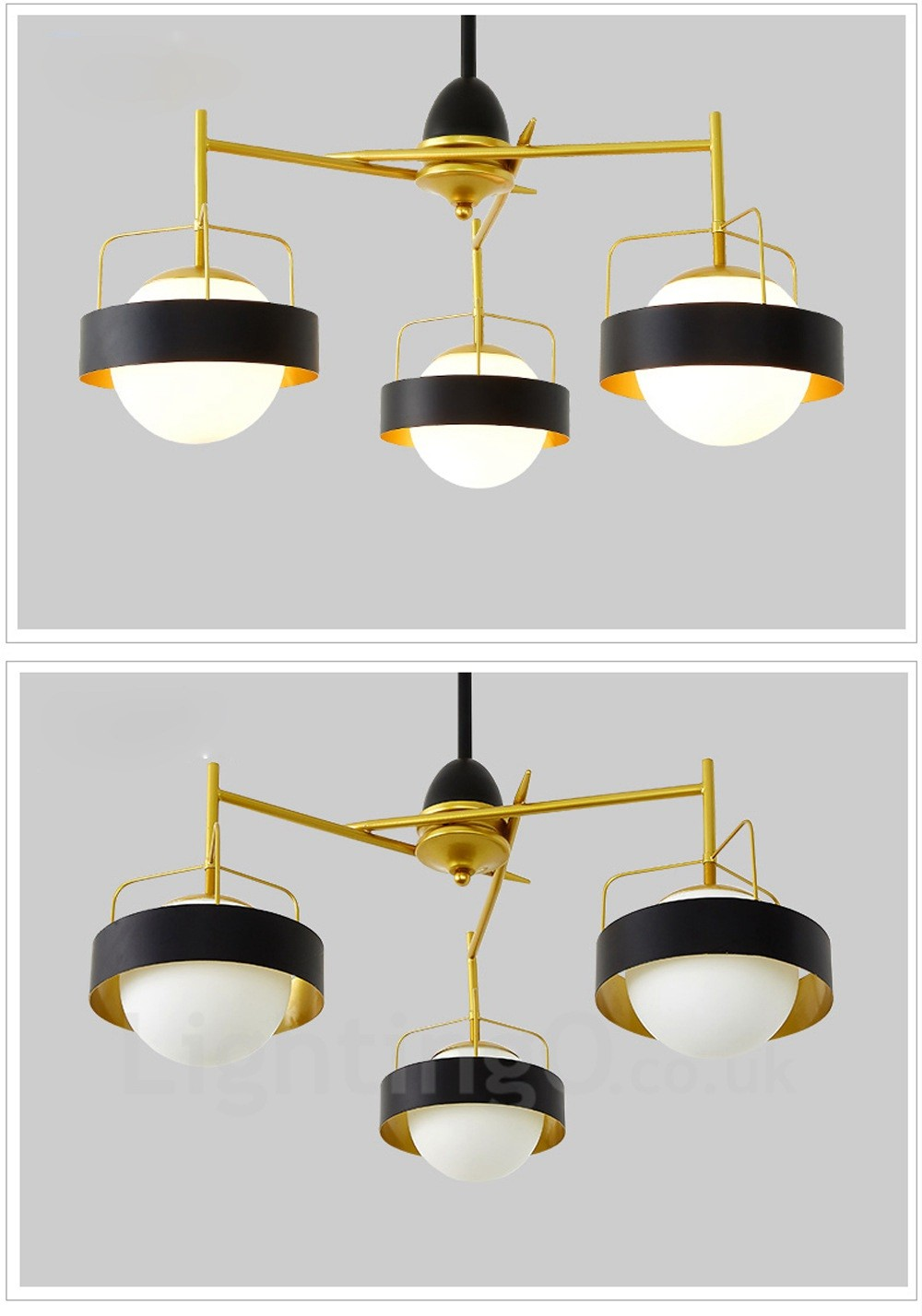 3 light modern contemporary ceiling lights copper plating chandelier with white black ball for Modern bathroom ceiling light fixtures