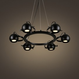 6 Light Retro / Vintage Black Iron Pendant Light with Black Iron Ball Shades for Living Room, Study, Bedroom, Kitchen, Dining Room, Bar