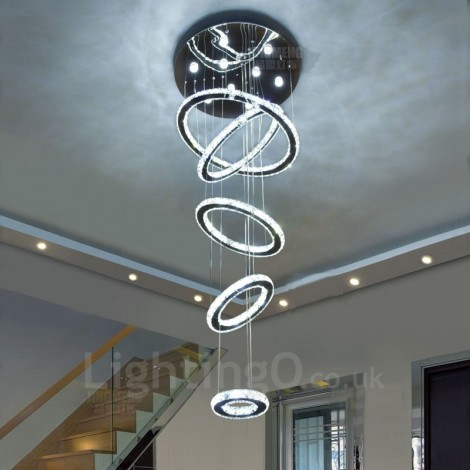 Dimmable 5 Rings Modern Led Crystal Ceiling Pendant Light