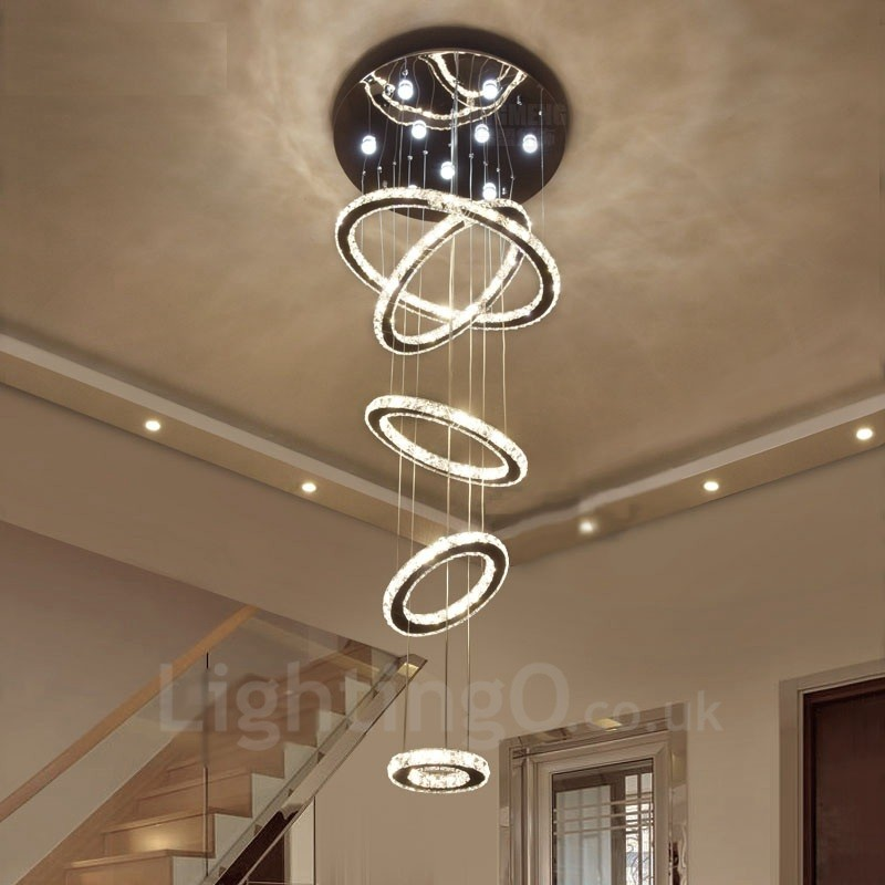 Dimmable Modern LED Crystal Ceiling Pendant Light Indoor Chandeliers Home Hanging Down Lighting Lamps Fixtures with Remote Control