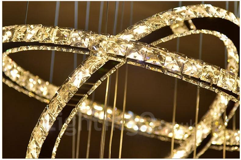 Dimmable 5 Rings Modern LED Crystal Ceiling Pendant Light