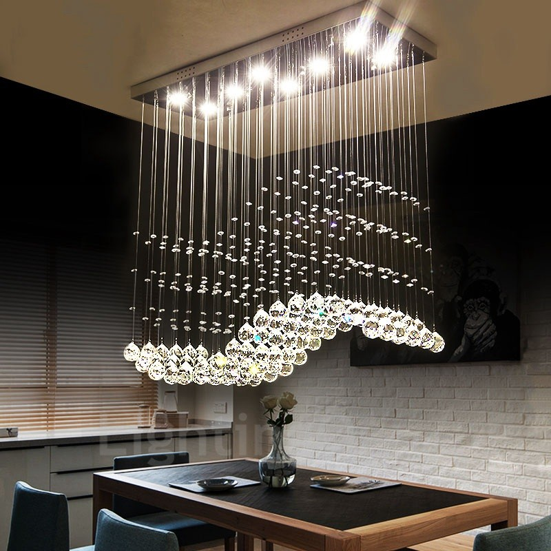 Modern Indoor Ceiling Lights : Dimmable modern led crystal ceiling pendant light indoor