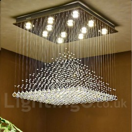 Dimmable Modern LED Crystal Ceiling Pendant Light Indoor Chandeliers Home Hanging Down Lighting Lamps Fixtures with Remote Contr