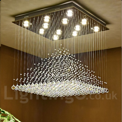 Dimmable Modern Led Crystal Ceiling Pendant Light Indoor Chandeliers Home Hanging Down