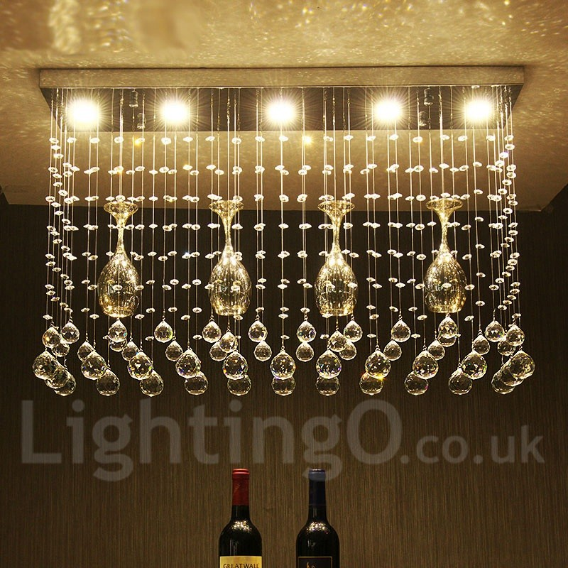 5 Lights Dimmable Modern LED Crystal Ceiling Pendant Light
