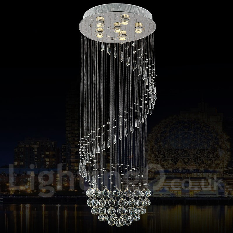Led Light Enclosed Fixture: 6 Lights Modern LED Crystal Ceiling Pendant Light Indoor