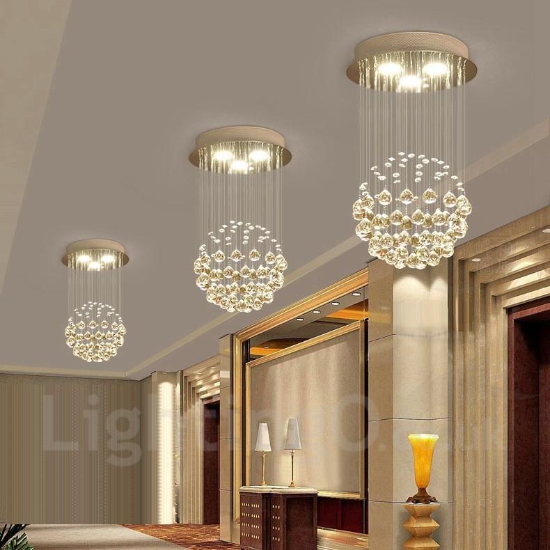 3 Light Modern LED Crystal Ceiling Pendant Light Indoor