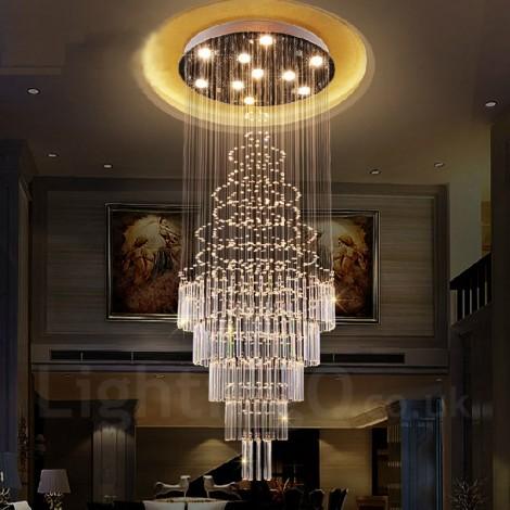 10 Lights Modern Led Crystal Ceiling Pendant Light Indoor