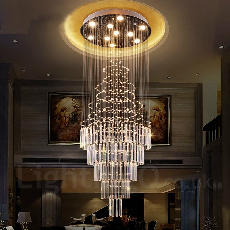 10 Lights Modern Led Crystal Ceiling Pendant Light Indoor