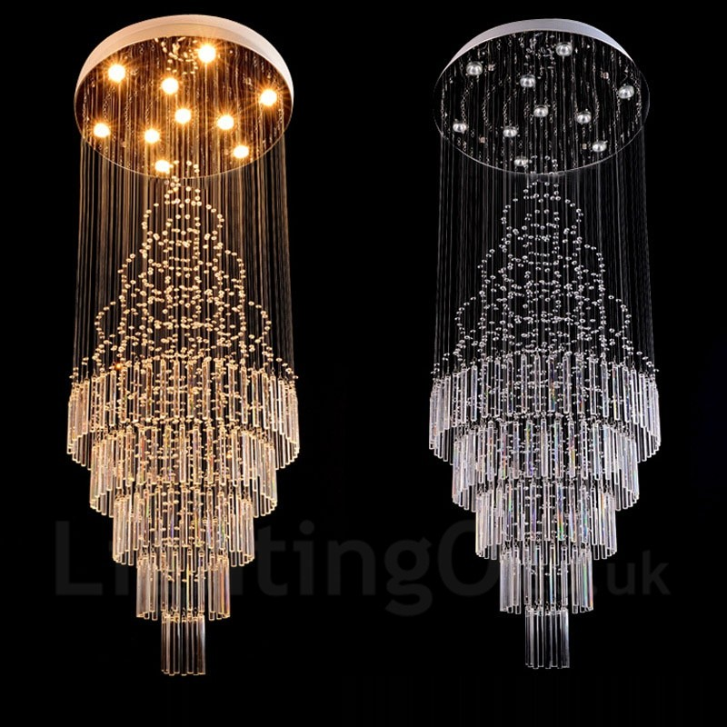 10 Lights Modern Led Crystal Ceiling Pendant Light Indoor Chandeliers Home Hanging Down Lighting