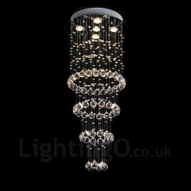 5 Lights Modern LED Crystal Ceiling Pendant Light Indoor Chandeliers Home Hanging Down Lighting Lamps Fixtures