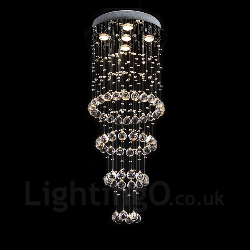 5 lights modern led crystal ceiling pendant light indoor for Contemporary chandeliers and pendants