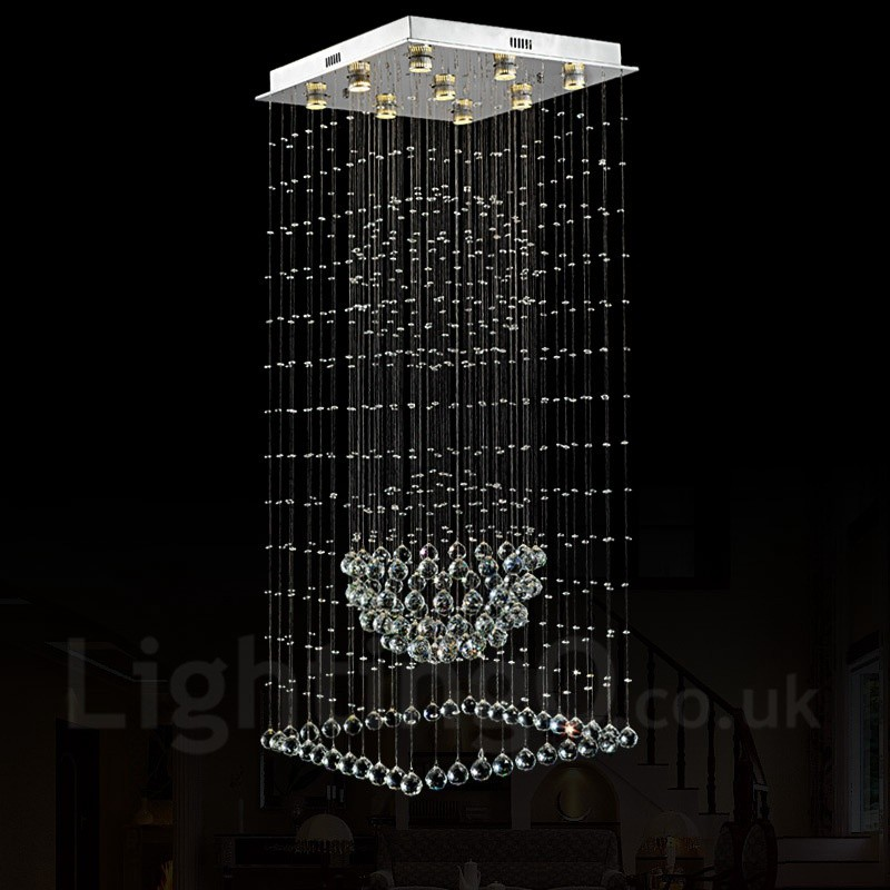 9 lights modern led crystal ceiling pendant light indoor chandeliers 9 lights modern led crystal ceiling pendant light indoor chandeliers home hanging down lighting lamps fixtures mozeypictures Gallery