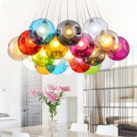 G4 220V 12CM Creative The Nordic Color Restoring Ancient Ways Goldfish Bowl Glass Creative Droplight Lamp Led Light (Multiple glass balls with one pendant fixed) (Please select the Quantity and Color of the glass ball below)