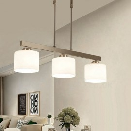 3 Lights Modern Chrome Pendant Light Indoor Chandeliers Home Hanging Lighting Lamps Fixtures with Glass Shades