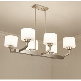 6 Lights Modern Chrome Pendant Light Indoor Chandeliers Home Hanging Lighting Lamps Fixtures with Glass Shades