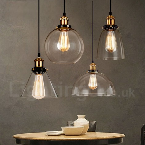 retro vintage living room bedroom pendant light with glass shade for dining room lamp. Black Bedroom Furniture Sets. Home Design Ideas