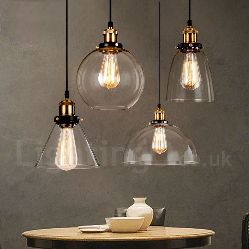 Retro Vintage Living Room Bedroom Pendant Light With Glass Shade For Dining Room Lamp