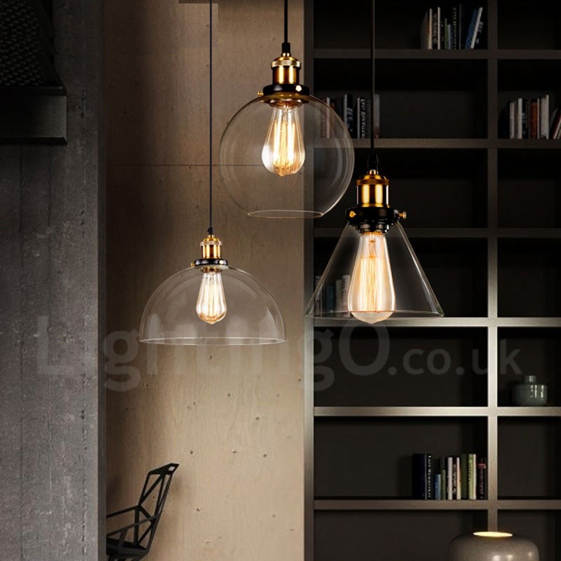 Retro / Vintage Living Room Bedroom Pendant Light with Glass Shade for Dining Room Lamp