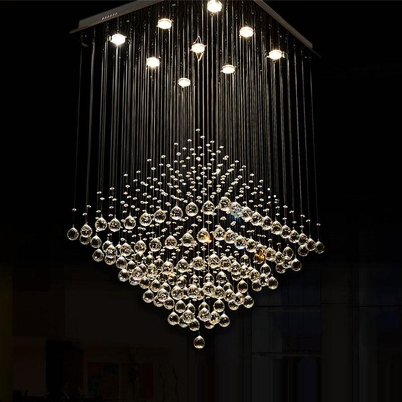 9 Lights Modern LED K9 Crystal Ceiling Pendant Light