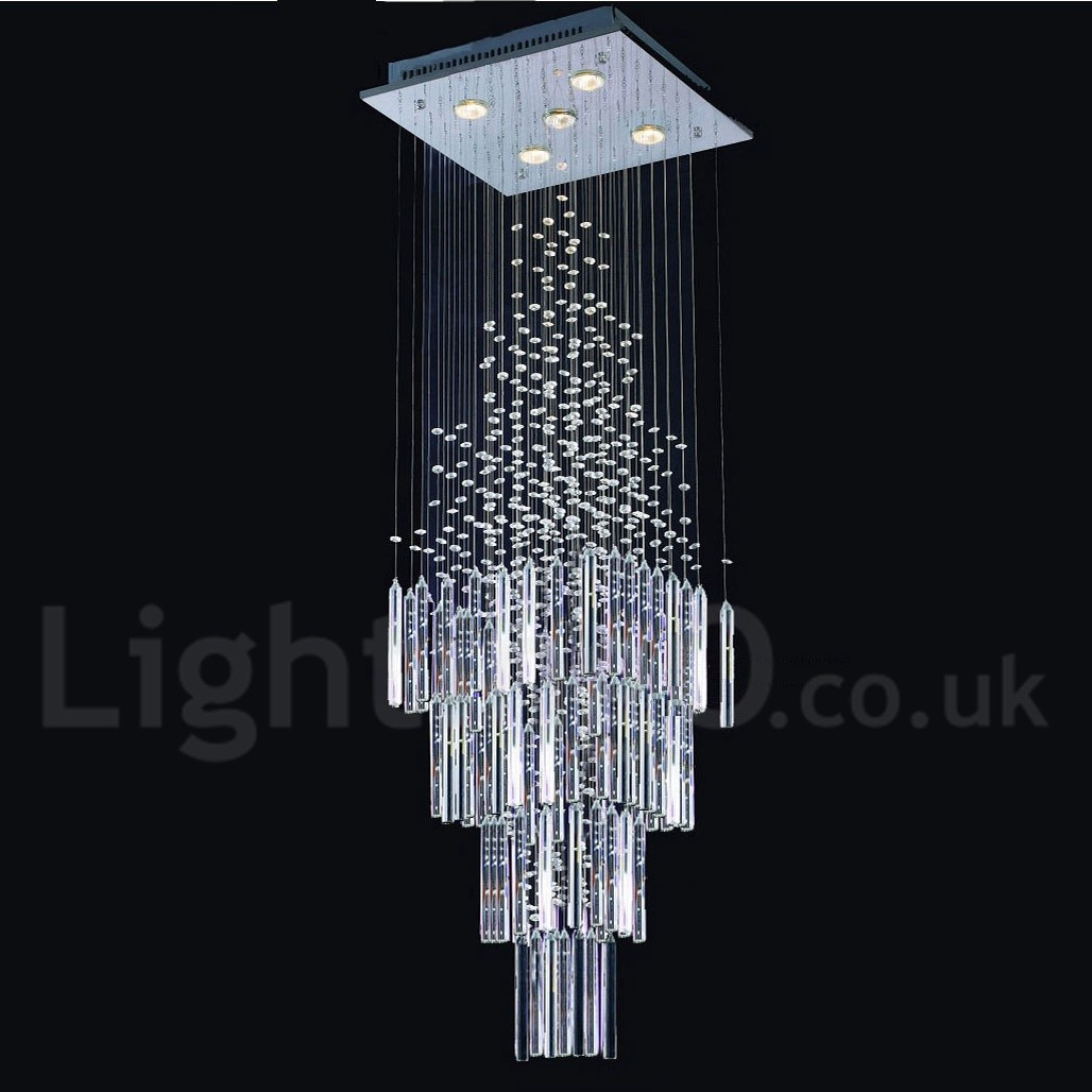 5 lights modern led k9 crystal ceiling pendant light indoor chandeliers home hanging down lighting lamps fixtures