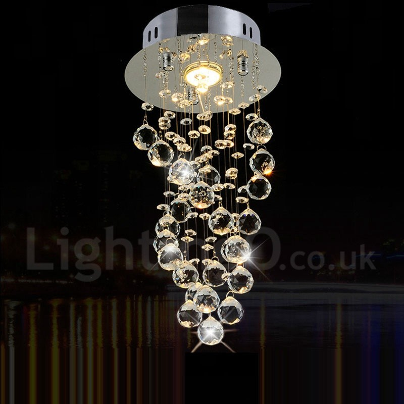 1 Light Modern Led K9 Crystal Ceiling Pendant Light Indoor