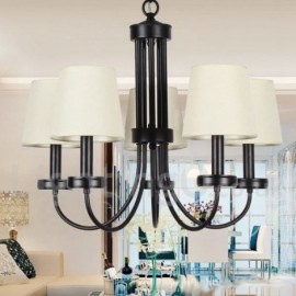 5 Light Retro Contemporary Living Room Dining Room Bedroom Black Candle Style Chandelier