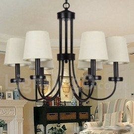 6 Light Retro Contemporary Living Room Dining Room Bedroom Black Candle Style Chandelier