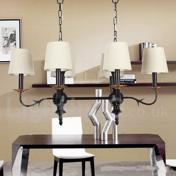 6 Light Dining Room Living Room Bedroom Rustic Retro Black