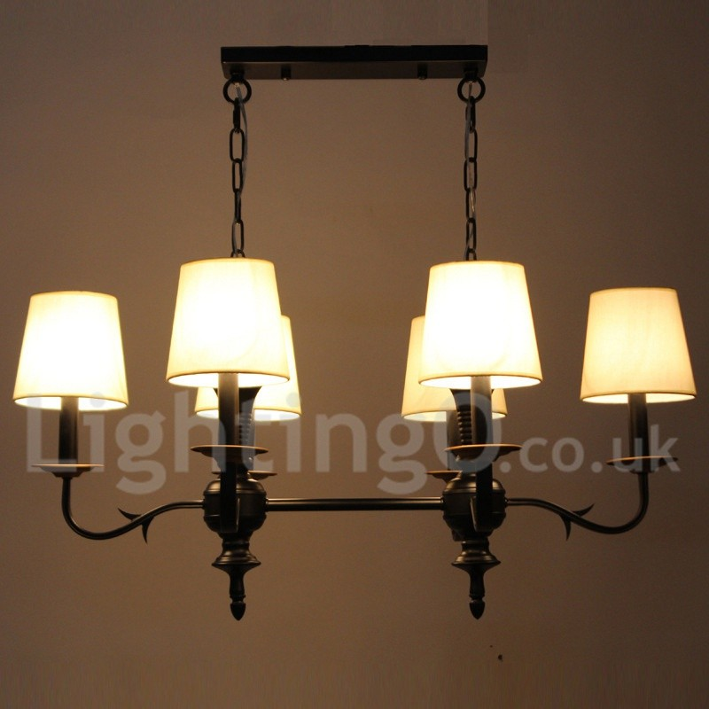 Rustic Chandeliers For Dining Room: 6 Light Dining Room Living Room Bedroom Rustic Retro Black