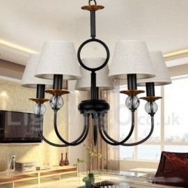 5 Light Rustic Retro Black Mediterranean Style, Living Room Contemporary Dining Room Candle Style Chandelier