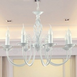 8 Light Contemporary Retro White Living Room Bedroom Dining Room Candle Style Chandelier