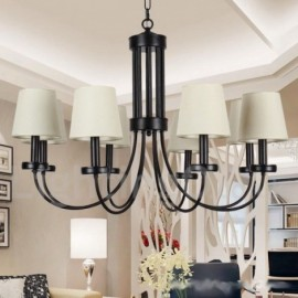 8 Light Retro Contemporary Living Room Dining Room Bedroom Black Candle Style Chandelier