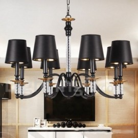 8 Light Black Living Room Bedroom Dining Room Retro Bar Candle Style Chandelier
