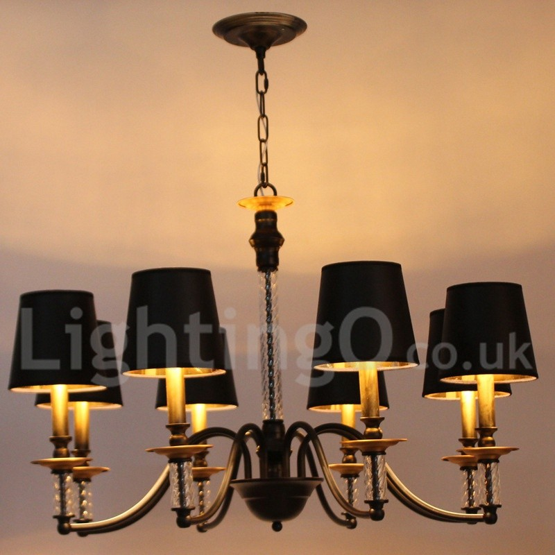 8 light black living room bedroom dining room retro bar for Black dining room chandelier