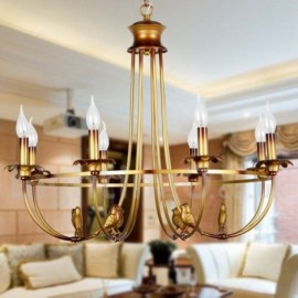 8 Light Rustic Retro Living Room Bedroom Candle Style Chandelier