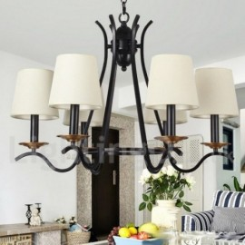 6 Light Black Living Room Dining Room Bedroom Retro Contemporary Candle Style Chandelier
