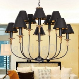 10 Light Rustic Retro Contemporary Living Room Dining Room Bedroom Candle Style Chandelier