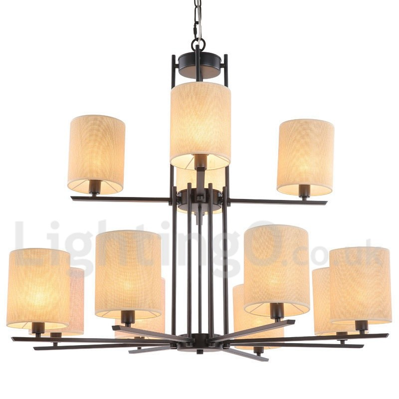 12 Light Rustic Retro Black Bar 2 Tier Large Chandelier Candle Style