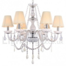6 Light White Dining Room Bedroom Living Room K9 Crystal Candle Style Chandelier