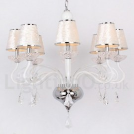 8 Light White Contemporary Dining Room Bedroom Living Room K9 Crystal Candle Style Chandelier