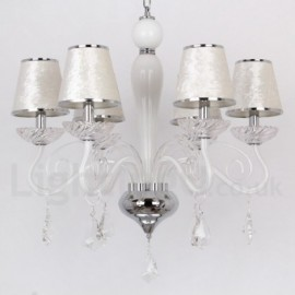 6 Light White Contemporary Dining Room Bedroom Living Room K9 Crystal Candle Style Chandelier